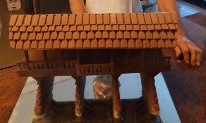 """La versione """"dolce"""" del Ponte degli Alpini di Bassano: realizzata in cioccolato da un pasticcere bellunese"""